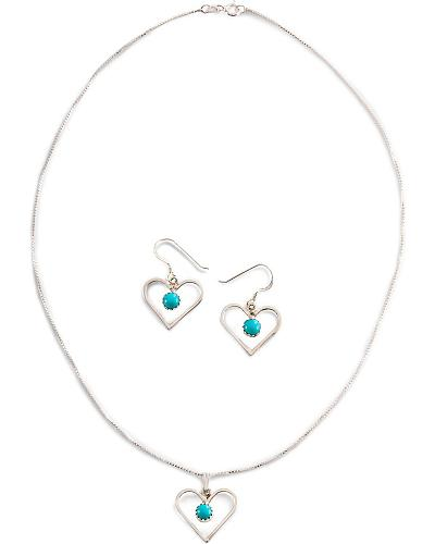 Handmade Turquoise Heart Necklace Set Western & Country 2 PC TQ HEART SET