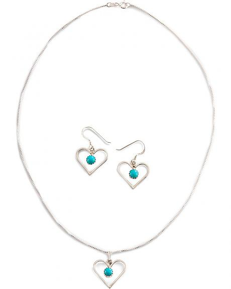 Handmade Turquoise Heart Necklace Set