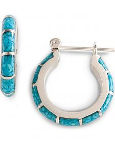 Turquoise Inlay Hoop Earrings