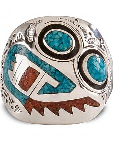 Turquoise & Coral Inlay Ring
