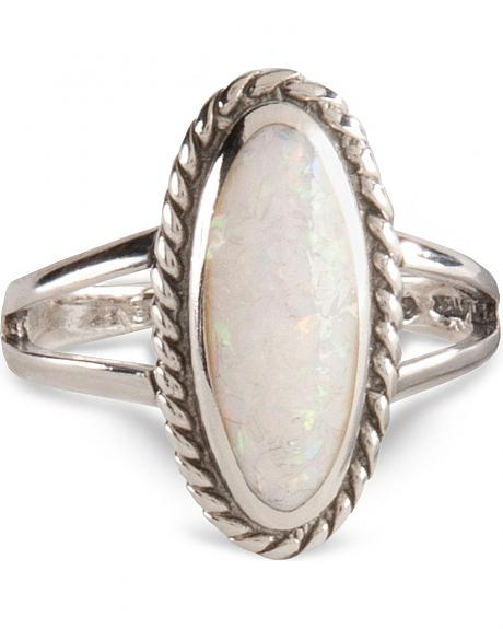 Handcrafted White Faux Opal Ring