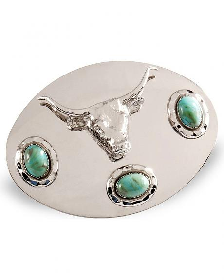 Silver Steerhead Belt Buckle
