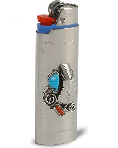 Sterling Silver Turquoise & Coral Lighter Case