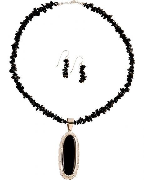 Onyx Pendant Necklace & Earrings Set