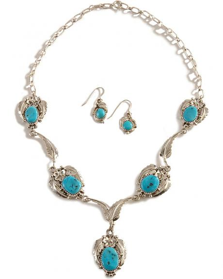Handmade Turquoise Inlay Necklace & Earrings Set
