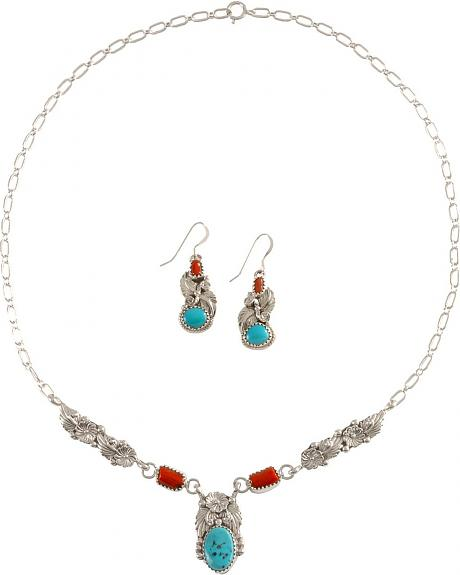 Turquoise and Coral Necklace & Earrings Set