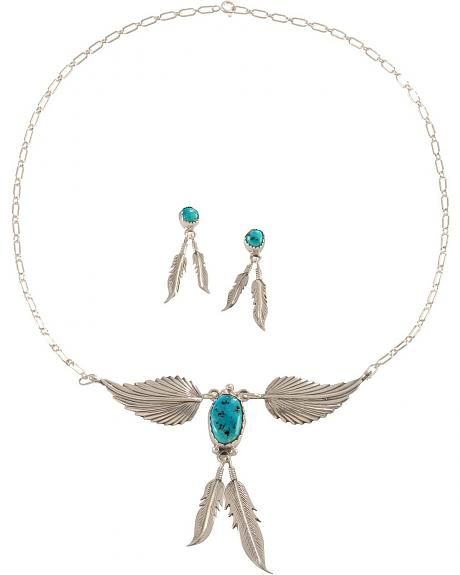 Sterling Silver & Turquoise Feather Necklace & Earrings Set