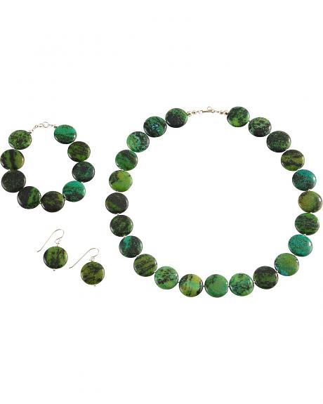 Green Turquoise Necklace, Earrings & Bracelet Set