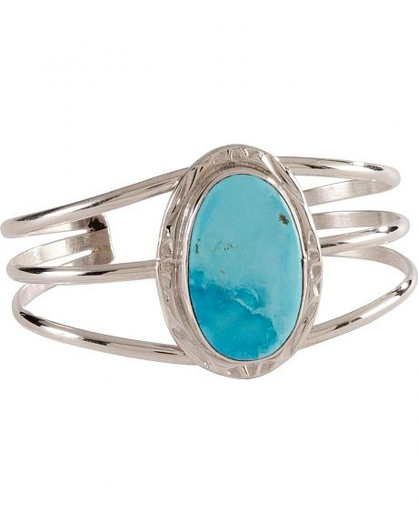 Triple Band with Turquoise Stone White River Bracelet