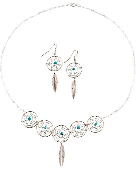 Sterling Silver & Turquoise Dream Catcher Necklace & Earrrings Set