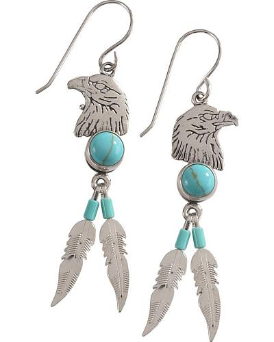 Indian Handmade Eagle Head with Feathers & Turquoise Stones Earrings Western & Country 283470