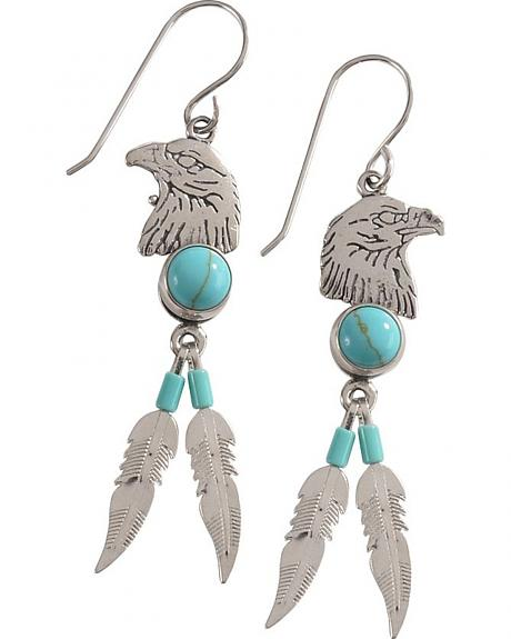 Indian Handmade Eagle Head with Feathers & Turquoise Stones Earrings