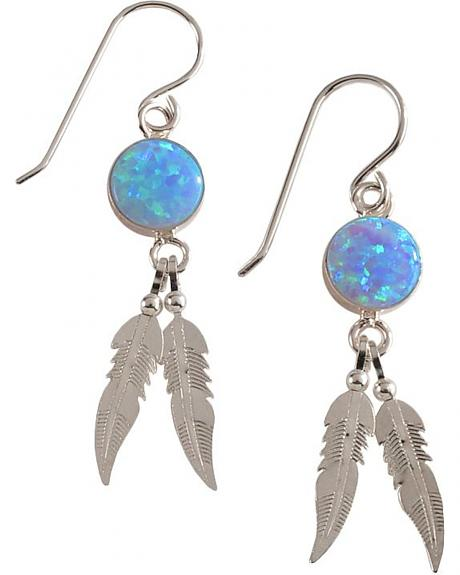 Indian Handmade Opal Stone with Feather Earrings