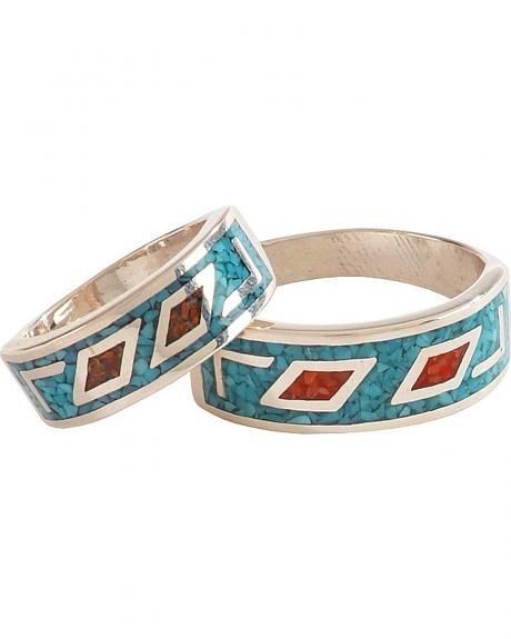 Sterling Silver Turquoise & Coral Unisex Ring