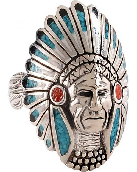 Unisex Indian with Headdress Turquoise Ring