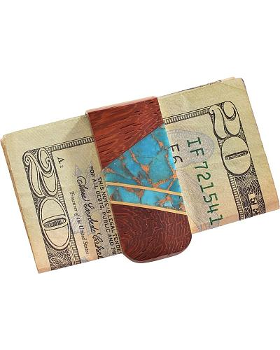 Handmade Exotic Wood & Turquoise Money Clip Western & Country 283485