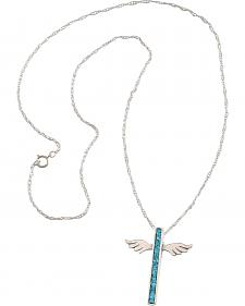 Silver Legend Sterling Silver & Turquoise Wing Cross Necklace