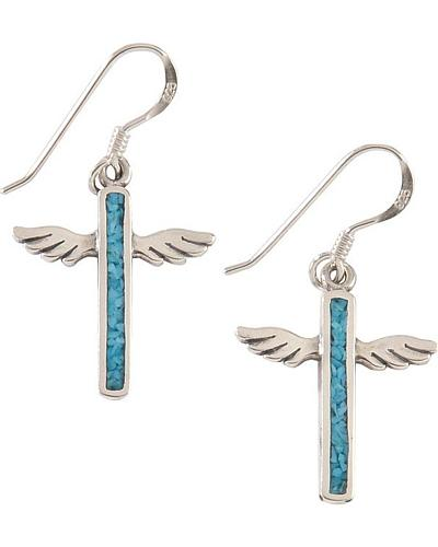 Silver Legends Sterling Silver & Turquoise Angel Wing Cross Earrings Western & Country ER17T