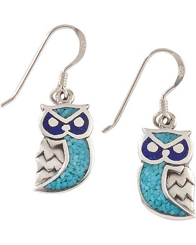 Silver Legends Sterling Silver & Turquoise Owl Earrings Western & Country ER378TL
