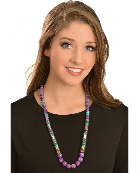 M & S Turquoise Tommy Singer Long Charoite & Turquoise Beaded Necklace