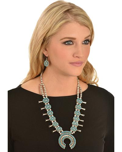 M & S Turquoise Squash Blossom Reversible Coral & Turquoise Necklace & Earrings Western & Country 283532