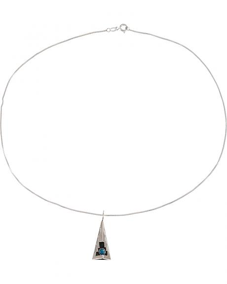 M & S Turquoise Felix Perry Teepee Blessing Sterling Silver Pendant
