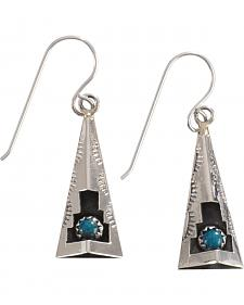 M & S Turquoise Felix Perry Teepee Blessing Sterling Silver Earrings