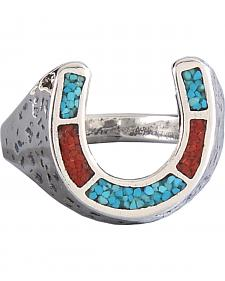M & S Turquoise Men's Sterling Silver Horseshoe Ring
