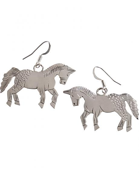 M & S Turquoise Stamped Sterling Silver Horse Earrings