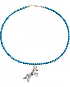 M & S Turquoise Women's Sterling Handmade Horse Charm Necklace