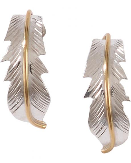 M & S Turquoise Women's Native American Sterling Silver Leaf Earrings with Gold Fill