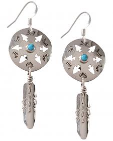 M & S Turquoise Women's Native Amercian Handmade Arrowhead with Feather Sterling Earrings
