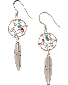 M & S Turquoise Women's Native American Sterling Silver Dreamcatcher Dangle Earrings