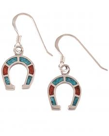 Silver Legends Women's Sterling Silver & Turquoise Horseshoe Earrings