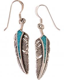 Silver Legends Women's Sterling Silver & Turquoise Feather Earrings