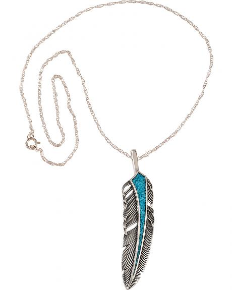 Silver Legends Women's Sterling Silver & Turquoise Feather Necklace