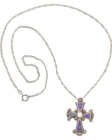 Silver Legends Women's Sterling Silver Lavender Cross Necklace