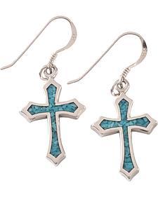 Silver Legends Women's Sterling Silver & Turquoise Cross Earrings