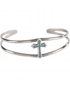 Silver Legends Women's Sterling Silver & Turquoise Cross Bracelet