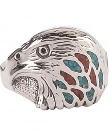 Silver Legends Men's Sterling Silver & Turquoise Eagle Head Ring