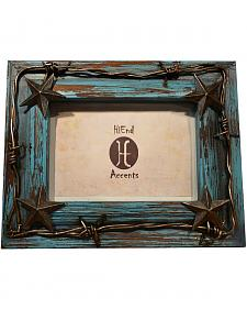 "HiEnd Accents Photo Frame with Metal Barbed Wire Overlay - 4"" x 6"""