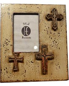 """HiEnd Accents Paint Distressed Cross Photo Frame - 4"""" x 6"""""""