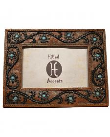 "HiEnd Accents Lacing with Turquoise Stones Photo Frame - 4"" x 6"""
