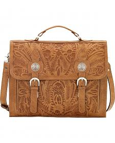 American West Tan Leather Stagecoach Laptop Briefcase