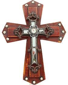 Studded Wooden Wall Cross