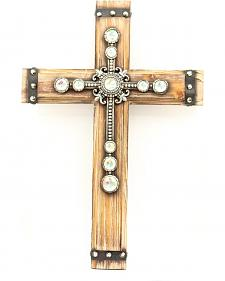 Wooden Rhinestone Embellished Wall Cross