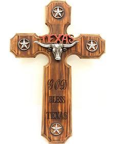 God Bless Texas Wooden Cross Wall Art