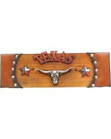 Texas Longhorn Rectangle Wooden Wall Art