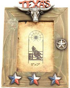 "Texas Lonestar Wooden Photo Frame - 5"" x 7"""