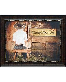 """Shawnda Eva Cowboy Time Out Framed Wall Art - 20"""" x 16"""""""